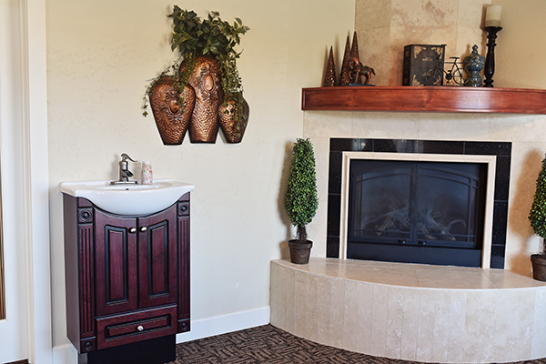 Photo of the fireplace and sink inside of Middle Creek Dental - Nampa, ID